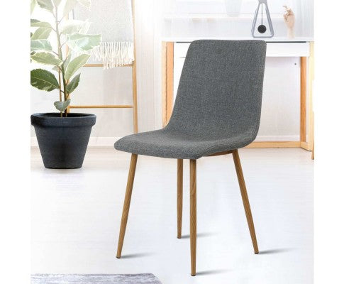 ARTISS SET OF 4 FABRIC DINING CHAIR - DARK GREY