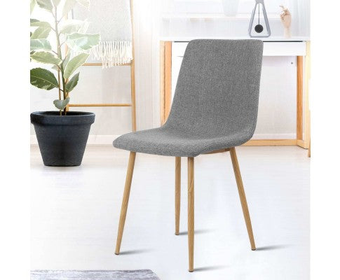 ARTISS FABRIC SET OF 4 DINING CHAIR - LIGHT GREY