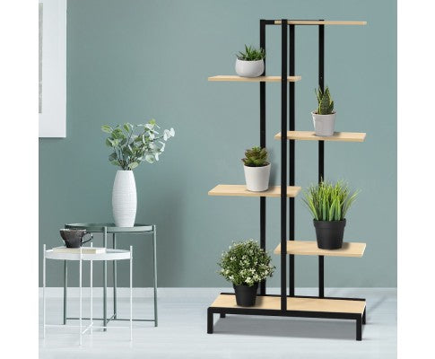 MULTI-TIER INDOOR OUTDOOR SHELF PLANT STAND - METAL/ NATURAL