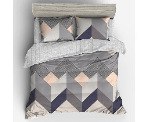 GISELLE GEOMETRY SQUARE MICROFIBRE QUILT COVER - KING & QUEEN