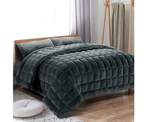 GISELLE PLUSH MINK THROW COMFORTER QUEEN   - CHARCOAL