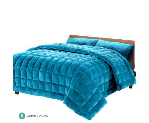 GISELLE PLUSH MINK THROW COMFORTER KING - TEAL
