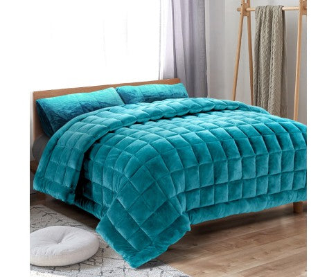GISELLE PLUSH MINK THROW COMFORTER QUEEN - TEAL