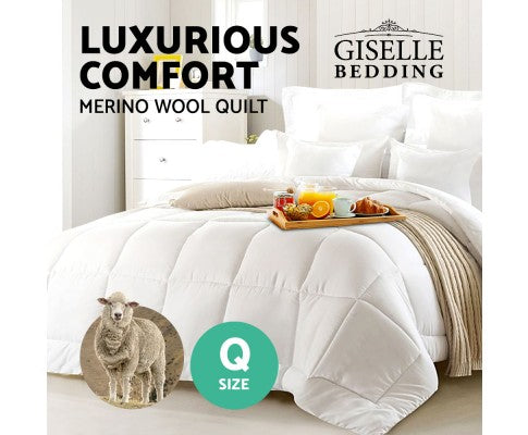 GISELLE BEDDING AUSTRALIAN 700GSM WINTER MERINO WOOL QUILT - QUEEN