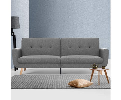 ARTISS FABRIC 3 SEATER SOFA LOUNGE SET - GREY