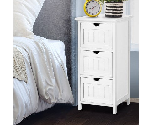 ARTISS 3 DRAW BEDSIDE TABLE - WHITE