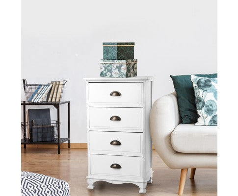 ARTISS 4 DRAW VINTAGE BEDSIDE TABLE - WHITE