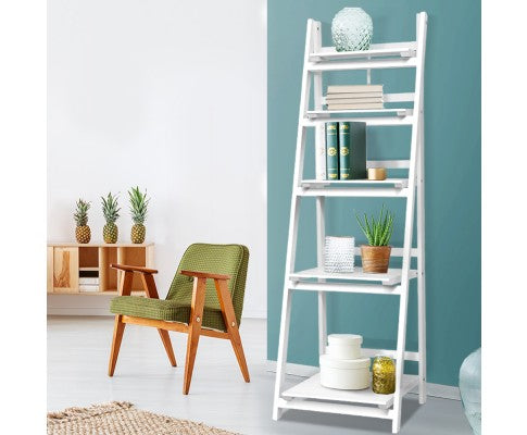 ARTISS 5 TIER WOODEN LADDER SHELF - WHITE