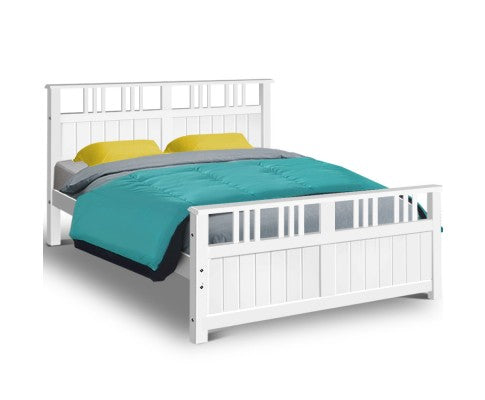 ARTISS QUEEN WOODEN BED FRAME - WHITE