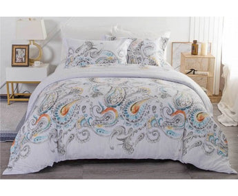 WHITE PAISLEY QUILT COVER - QUEEN