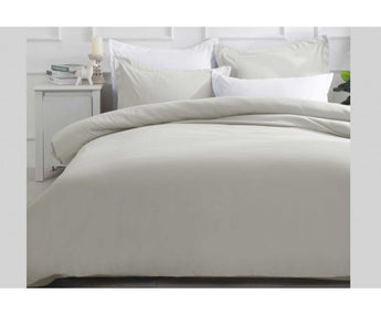 SOFT BEIGE MICROFIBRE QUILT COVER - AVAILABLE IN KING & QUEEN