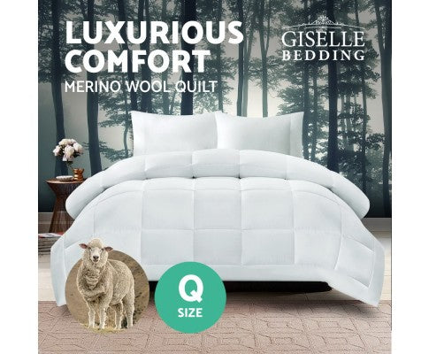 GISELLE BEDDING AUSTRALIAN 500GSM WINTER MERINO WOOL QUILT - QUEEN