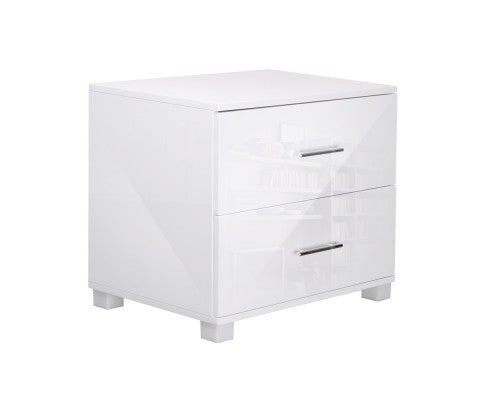 HIGH GLOSS 2 DRAWER BEDSIDE TABLE - WHITE