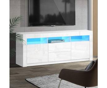HIGH GLOSS RGB COLOUR CHANGE LED ENTERTAINMENT UNIT -WHITE