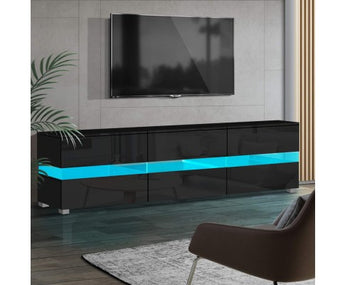 HIGH GLOSS RGB COLOUR CHANGE LED ENTERTAINMENT UNIT- BLACK