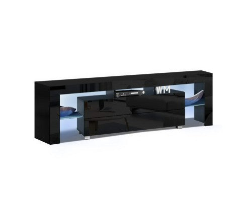 HIGH GLOSS RGB COLOUR CHANGE LED 160CM ENTERTAINMENT UNIT -WHITE