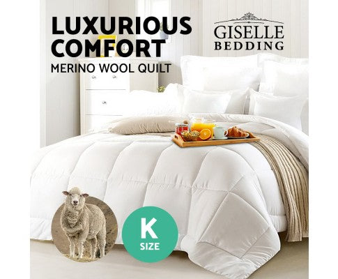 GISELLE BEDDING AUSTRALIAN 700GSM WINTER MERINO WOOL QUILT - KING
