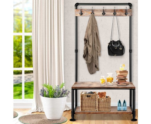 INDUSTRIAL PIPE RACK SHOE STORAGE WITH HOOKS