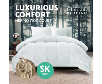 GISELLE BEDDING AUSTRALIAN 500GSM WINTER MERINO WOOL QUILT - SUPER KING