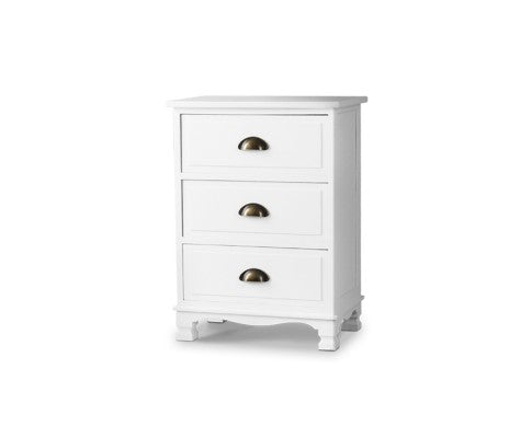 VINTAGE 3 DRAWER BEDSIDE TABLE -WHITE