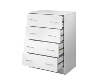 ARTISS 4 DRAWER TALLBOY - WHITE