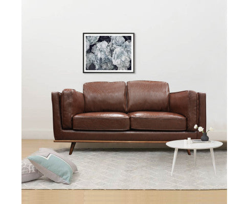 YORK 2 SEATER LEATHERETTE SOFA - BROWN