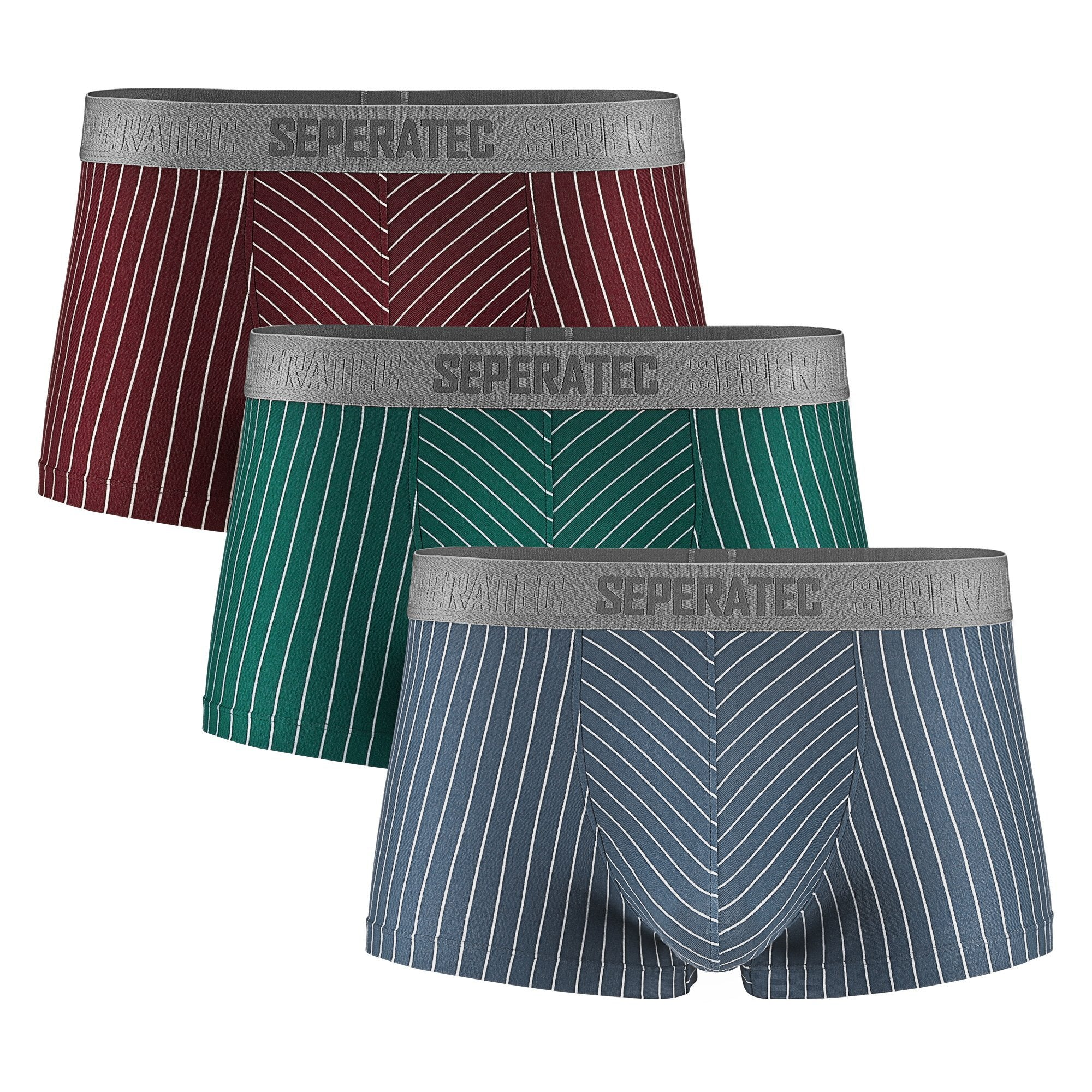 Separatec Dual Pouch Stylish Striped Pattern Smooth Cotton Trunks 3Pack Black Gray Bluestripe