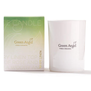 Green Angel White Linen Candle
