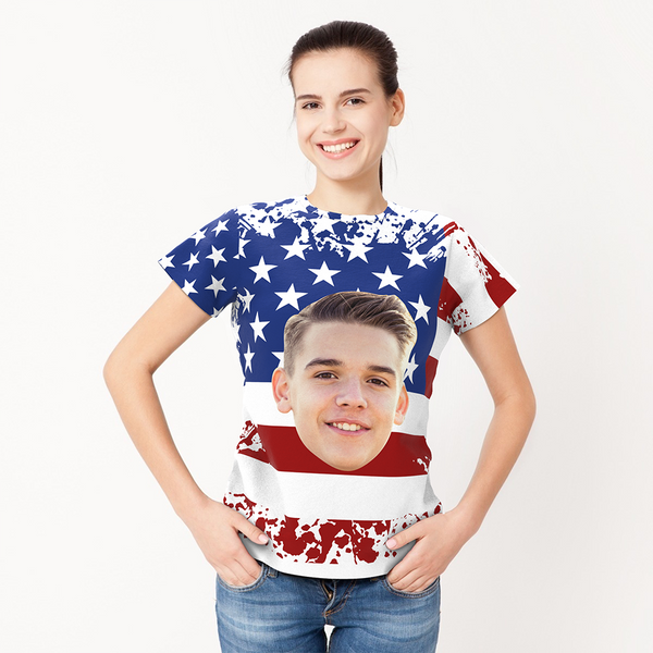 Personalized Photo American Flag T-shirt