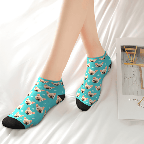 Custom Cute dog Face Ankle Socks - Unisex