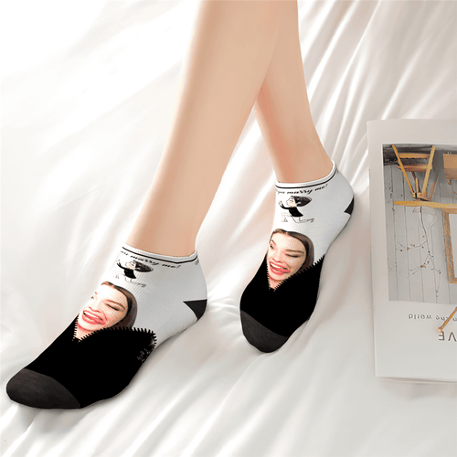 Custom Face Marry Me Ankle Socks - Unisex