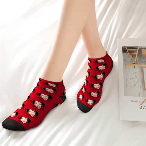 Custom Red Love Ankle Socks - Unisex