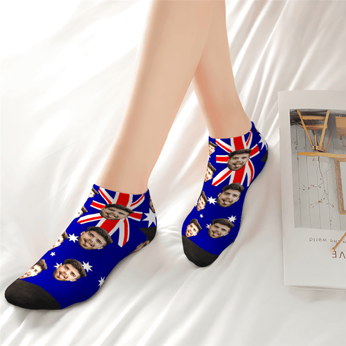 Custom Husband Face Australia Flag Ankle Socks - Unisex