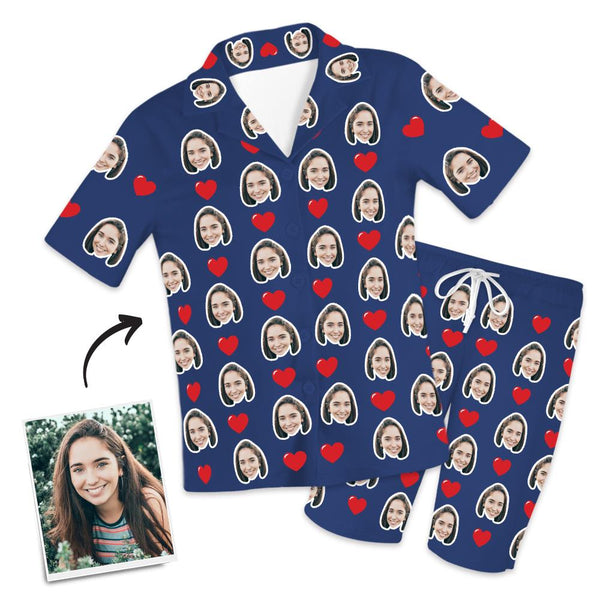 Custom Photo Short Sleeve Pajama Top, Nightwear, Sleepwear - Heart