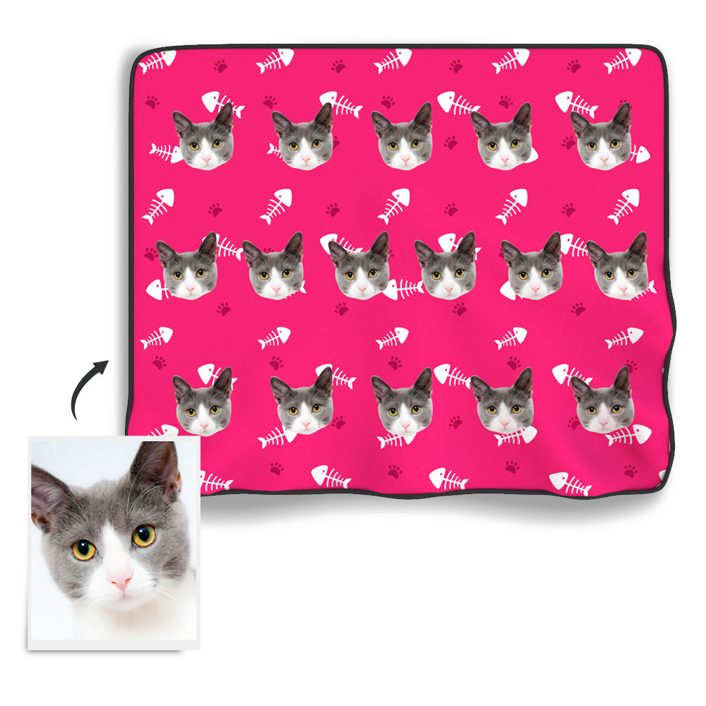 Custom Cat Photo Blanket
