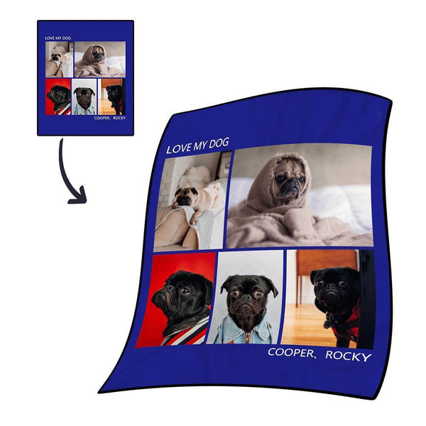 Custom Photo Blanket Fleece with Text - 5 Photos