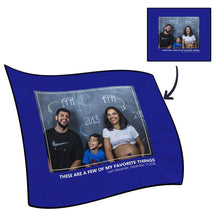 Custom Photo Fleece Blanket with Text - Love Family