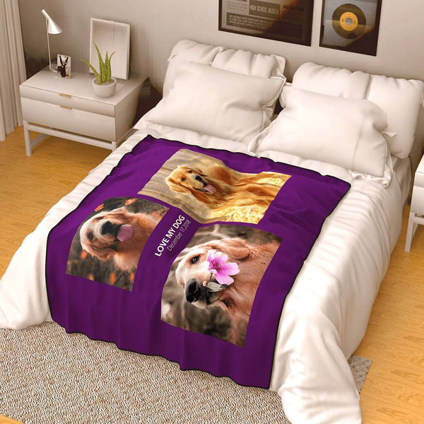 Custom Famliy Photo Fleece Blanket with Text - 3 Photos