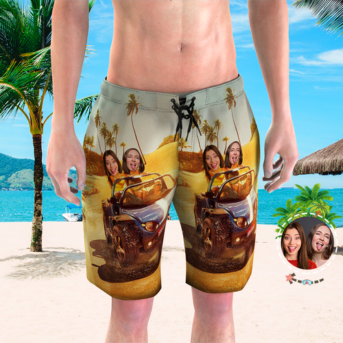 Men's Custom Face Beach Trunks All Over Print Photo Shorts - Driving on the Beach
