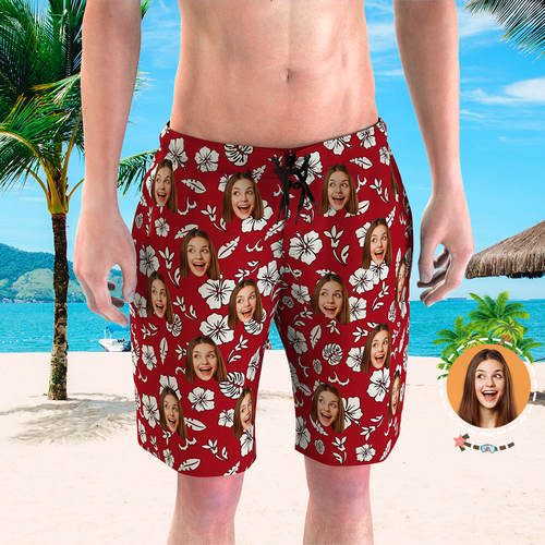 Men's Custom Face Beach Trunks All Over Print Photo Shorts Red