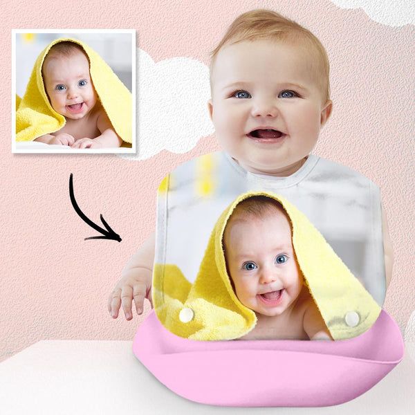 Custom Photo Bib Personalized Baby Imitation Silicone 3D Bib Pink