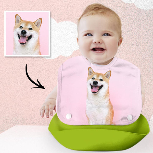 Personalized Photo Baby Imitation Silicone 3D Bib Green