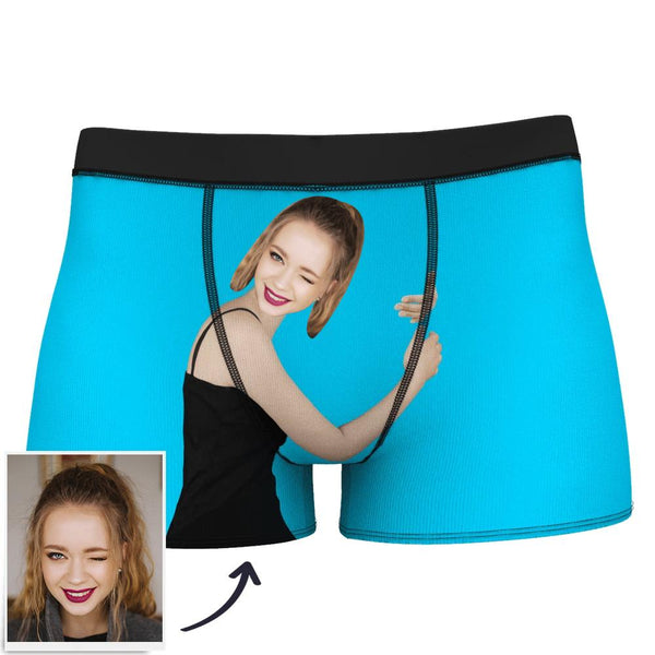 Men's Custom Love Hug Boxer Shorts - Light Skin