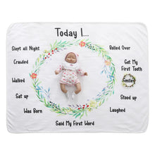 Milestone Blanket - Record Baby Growth Wreath Fleece Blanket