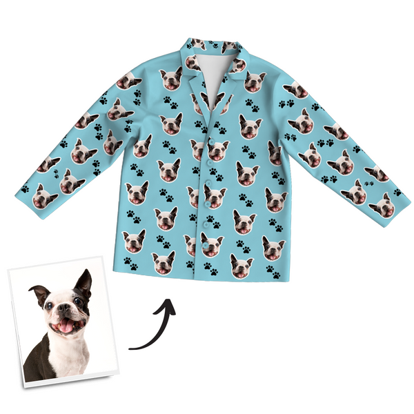 Custom Dog Photo Long Sleeve Pajamas, Sleepwear