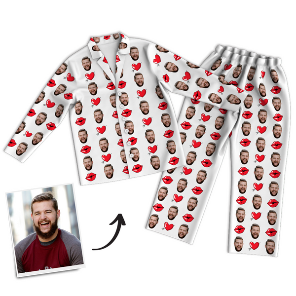 Custom Face Photo Pajama Pants, Nightwear, Sleepwear - Kiss