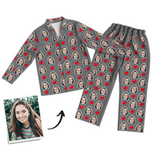 Custom Photo Long Sleeve Pajama Top, Nightwear, Sleepwear - Heart
