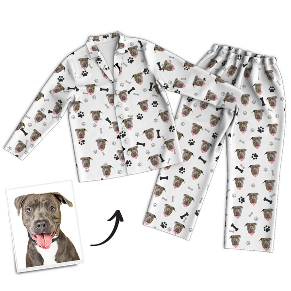 Custom Dog Photo Long Sleeve Pajamas, Nightwear, Sleepwear - Bone