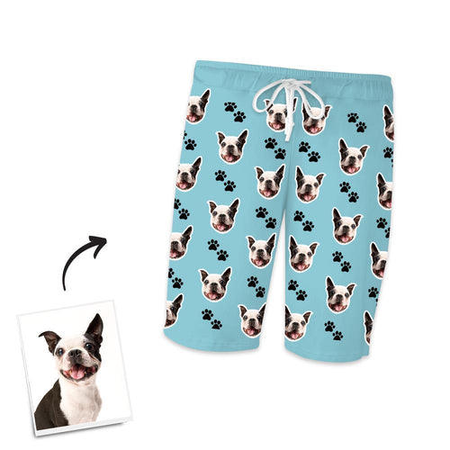 Custom Dog Photo Short Pajama Pants, Nightwear, Sleepwear