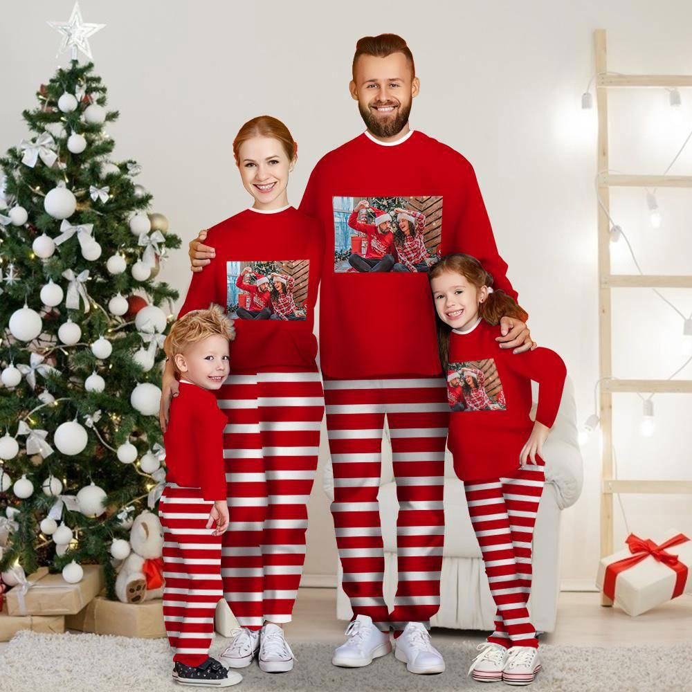 Christmas Gift Custom Photo Long Sleeve Pajamas Set Personalized Family Matching Christmas Red Style Pajama
